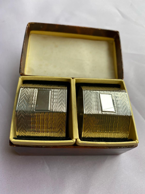 Silver Napkin Rings Pair - In Original Box Hallmarked 1946