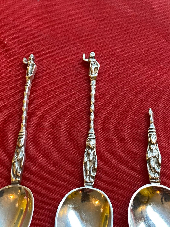 Pseudo Silver Apostle Spoons - Pair, Plus A Broken/half Handled Spoon