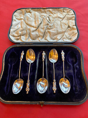 Part Boxed Set Of Solid Silver Apostle Tea Spoons (5-spoons) Hallmarked 1894
