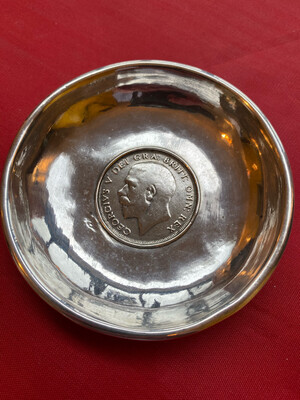 Silver Half Crown 1920 Made Into A Small Bowl - White Metal Bowl