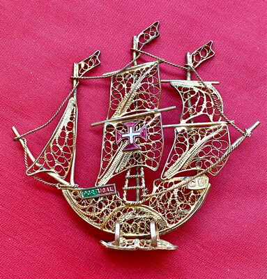 Souvenir Ship From Portugal.  (circa 1950's) Fretwork And Brass Wire