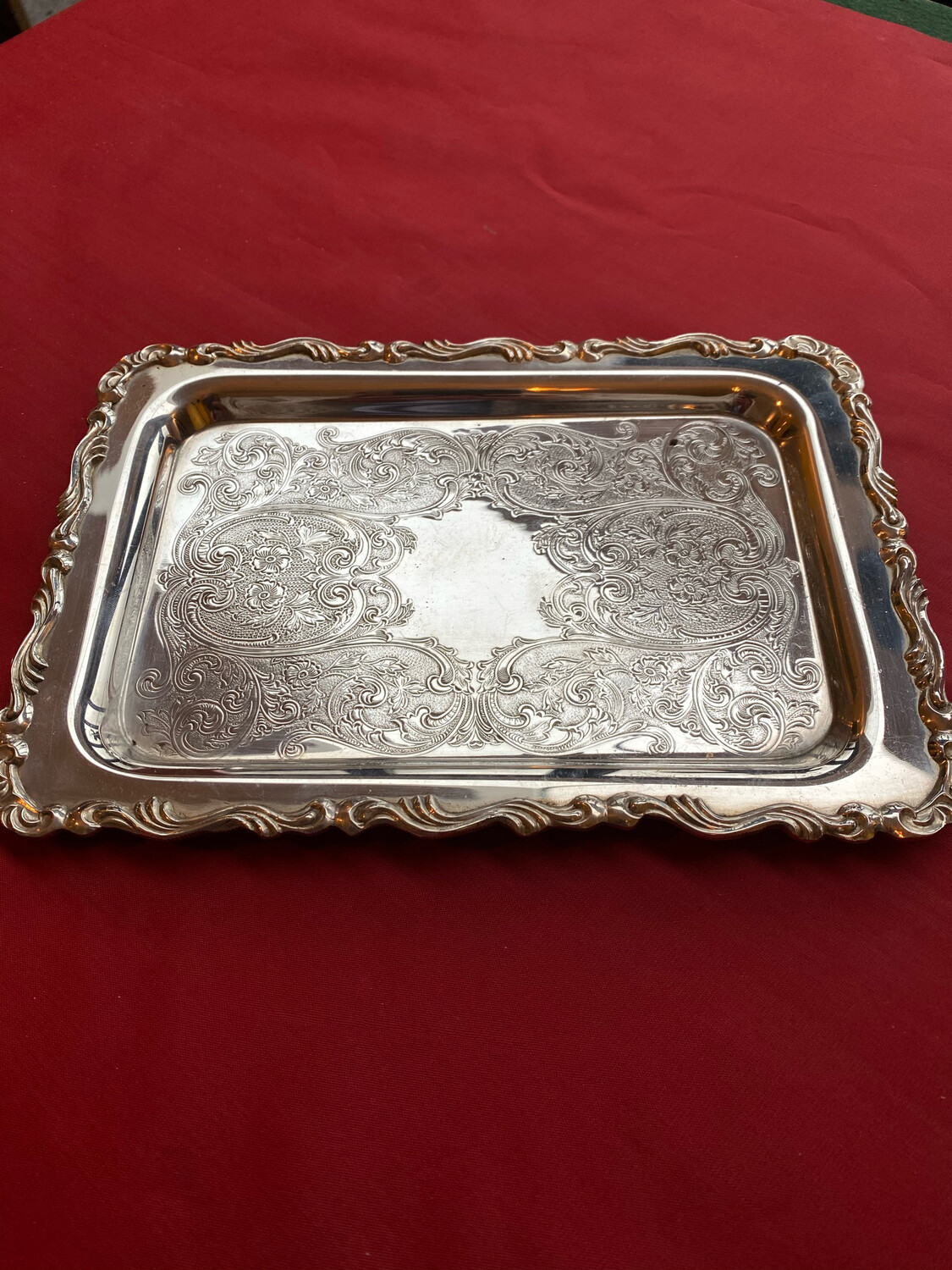 Medium Silver Plated Serving Tray With Engraving & Embossing Throughout