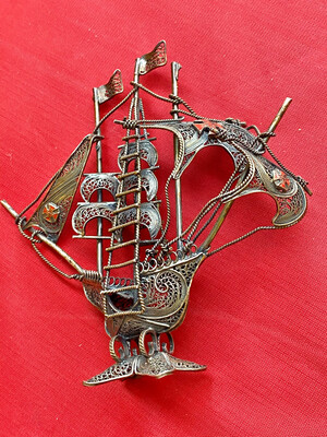 Souvenir Ship From Portugal.  (circa 1950's) Fretwork And Brass/copper Wire