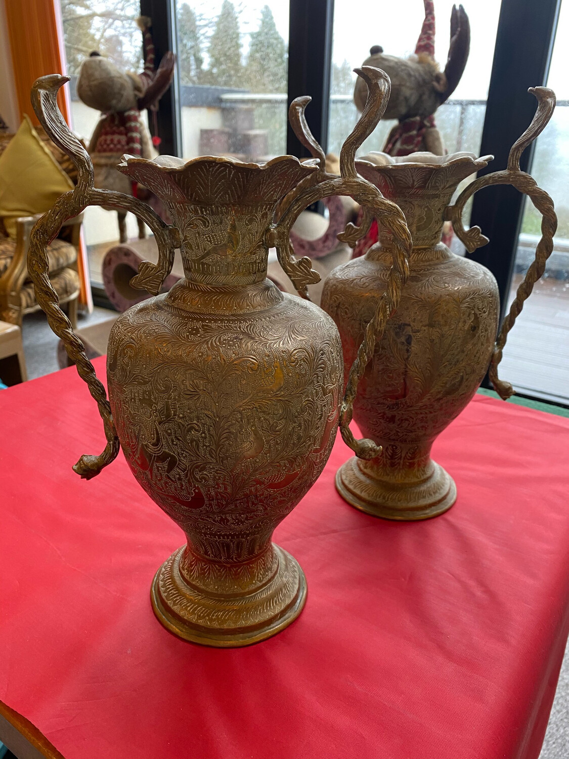 Pair Of Indian Brass Vases Or Urns - Probably 1960's