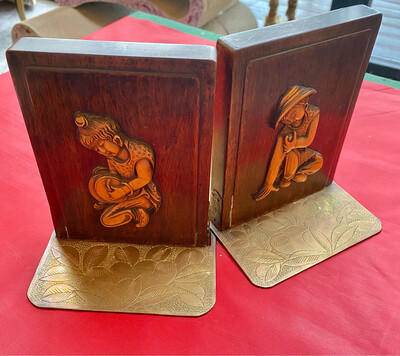 Pair Of Thai Brass & Wooden Bookends - Lovely Condition