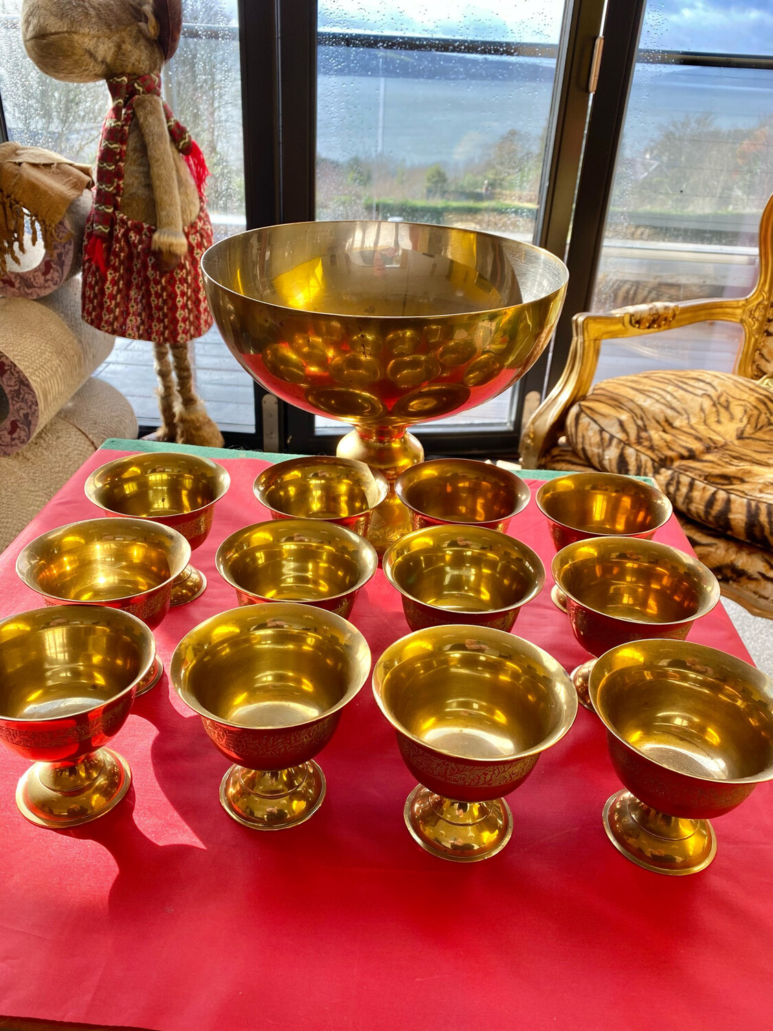 Magnificent Brass Punch Set Comprising 12 Goblets And Large Brass Bowl