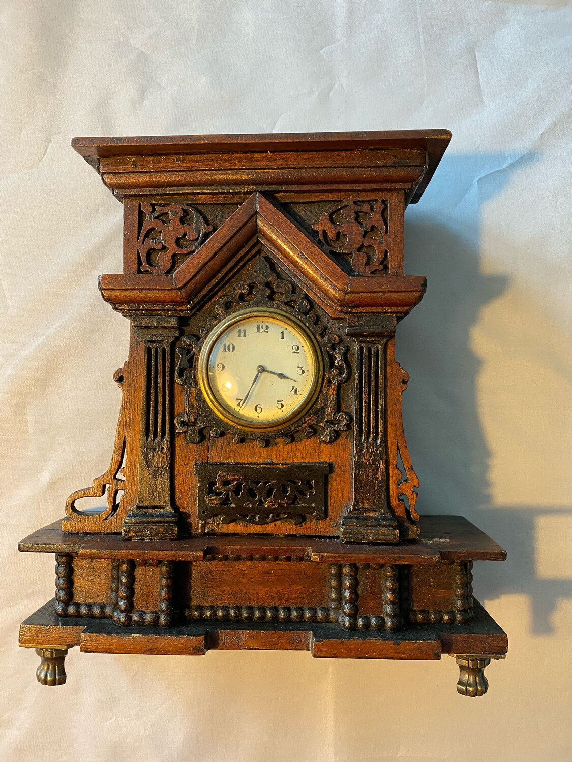 Handmade Mantle Clock Case with clock - probably late Victorian