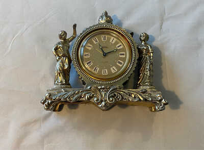 Metal Mantle Clock Japanese mechanism - probably 1950's vintage