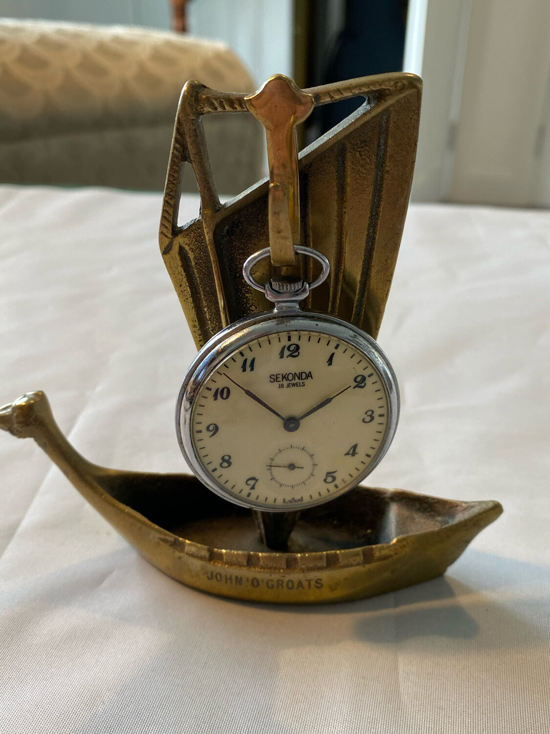 Brass pocket watch stand in style of viking boat - watch not included