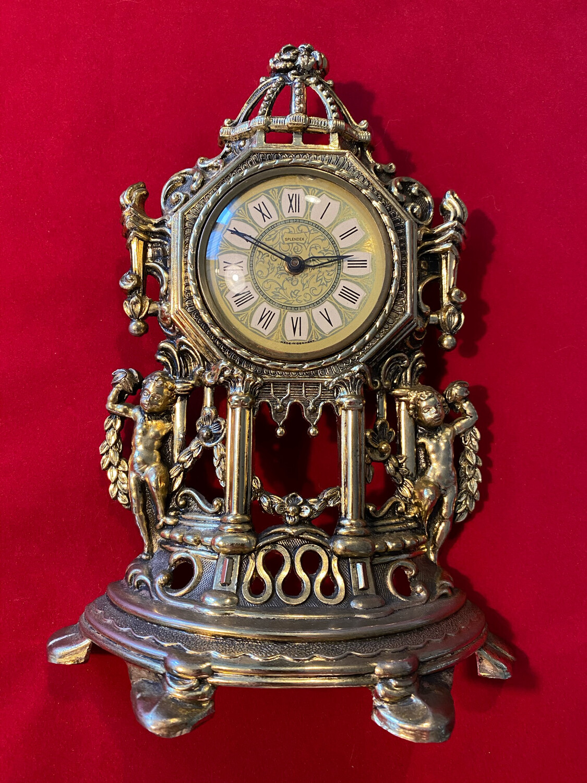 Metal Mantle Clock German  - probably 1950's vintage