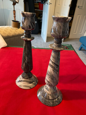 Pair of very unusual vintage Grey marbled Onyx Candlesticks