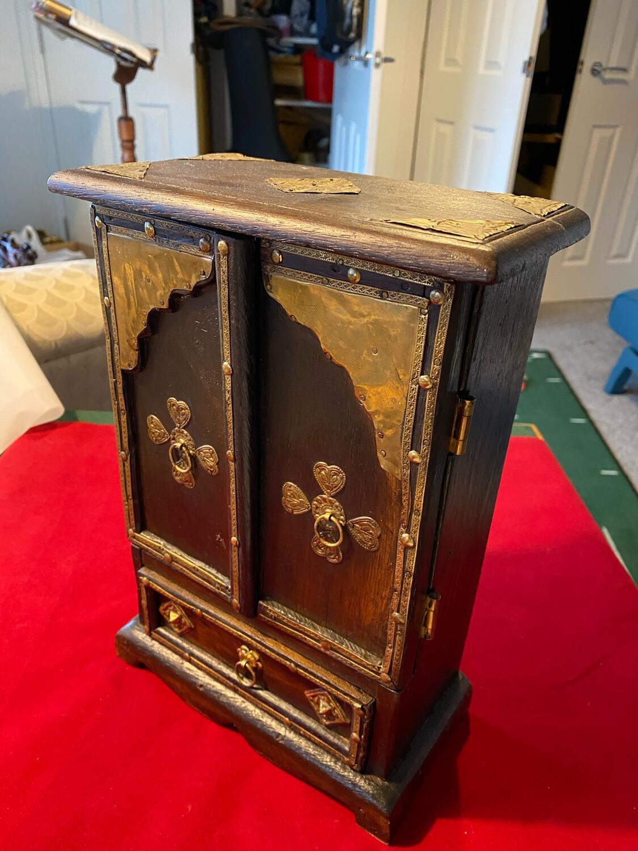 Rustic antique jewellery box or cabinet. Asian origin crude yet elegant