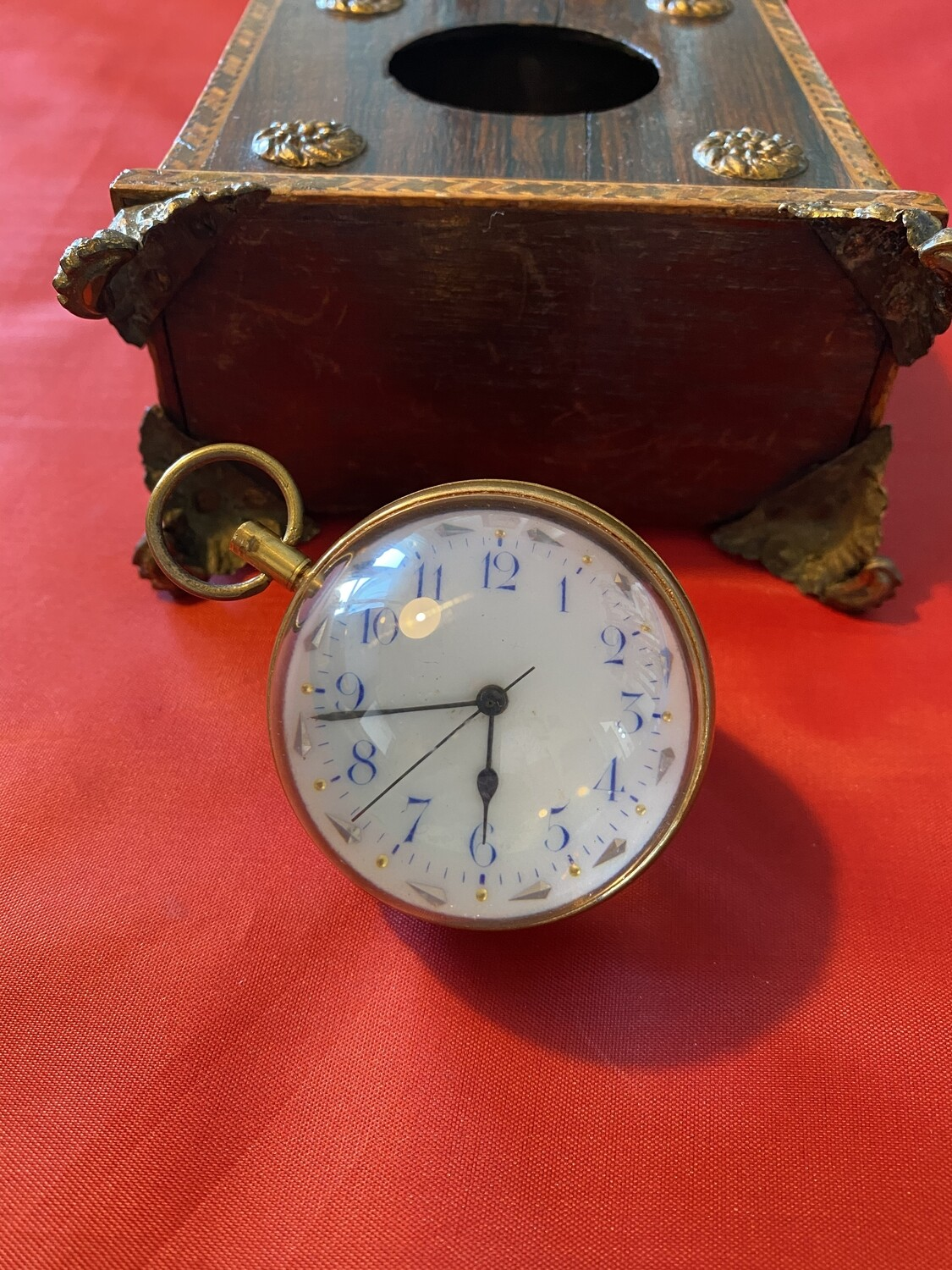 Antique Paperweight Watch/clock with Handmade Box