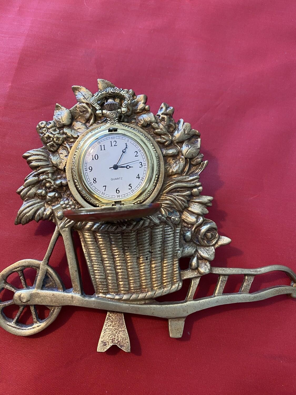 Vintage pocket watch stand - cast metal - includes free modern quartz watch