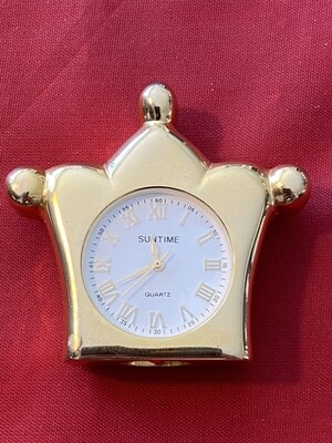 Miniature Mantle Clock in Polished Brass - Quartz, mid 80's