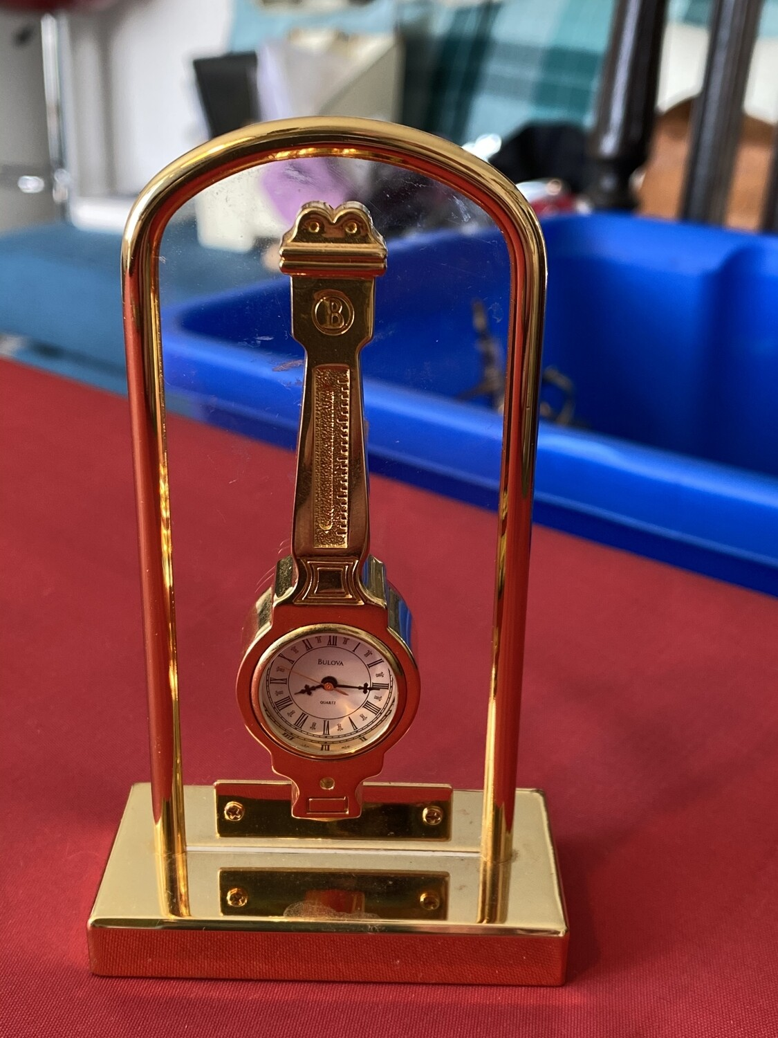 Unusual Bulova Quartz Battery Miniature Mantle Clock in the Style of a Long Clock, mid 80's
