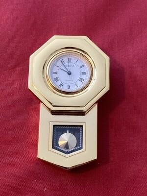 Unusual Bulova Quartz Battery Miniature Wall Clock in the Style of a Long Clock, mid 80's