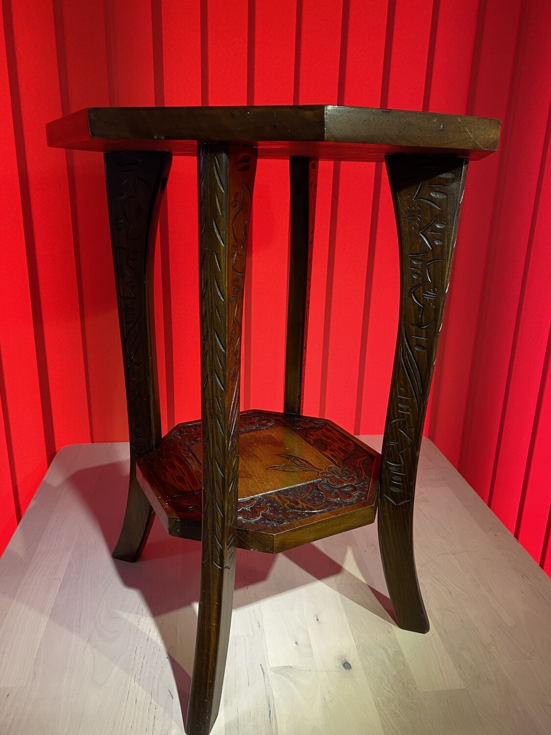 Arts & Crafts Octagonal Side Table  - Poker Work and Carved