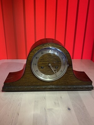 Circa 1940's Wooden Mantle Clock - In Working Order