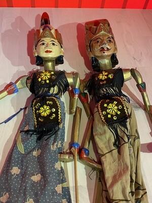 Pair of Handmade Wayang Golek Indonesian Theatre Puppets