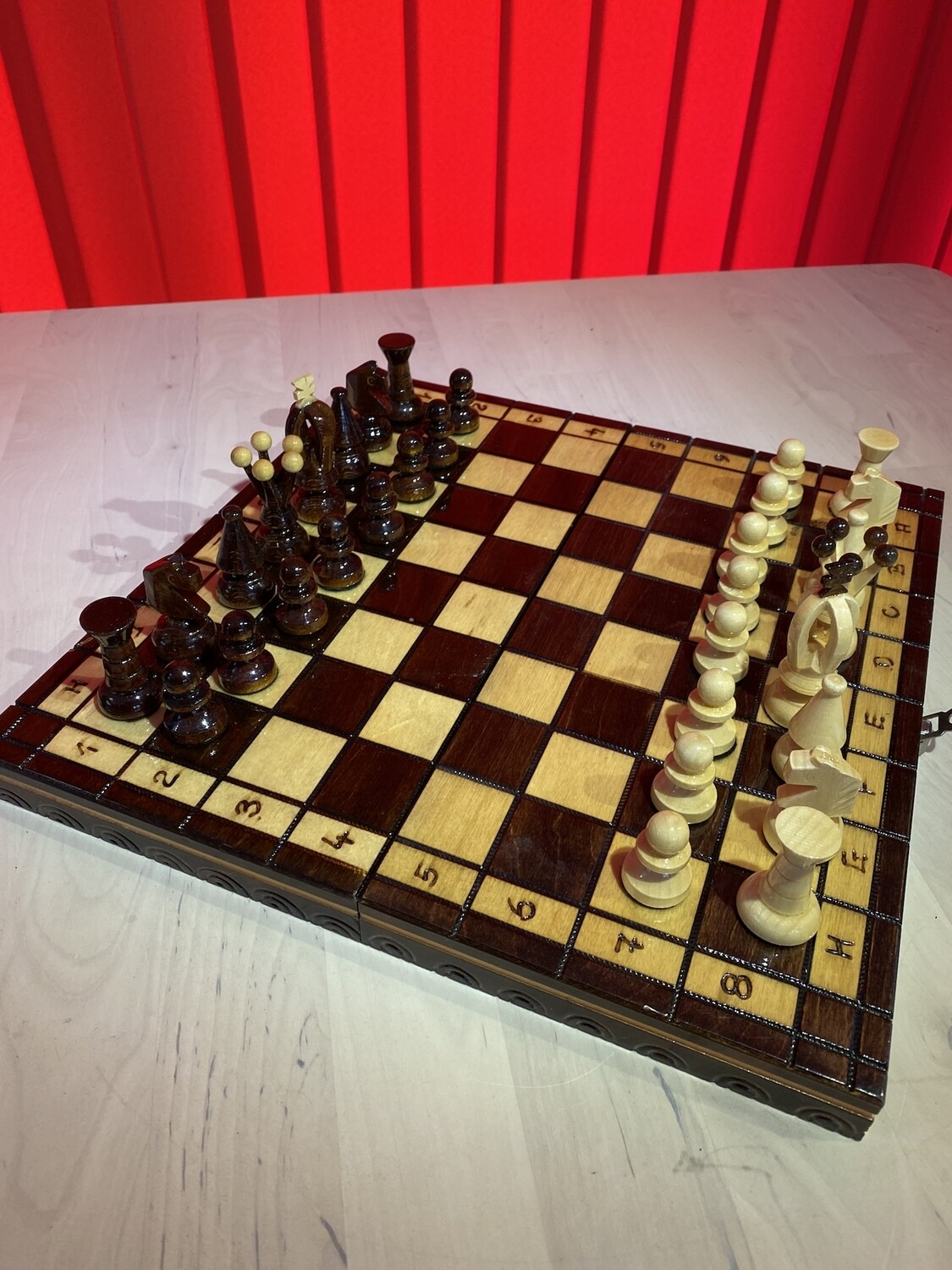 Hand Carved Chess Pieces and Board - modern