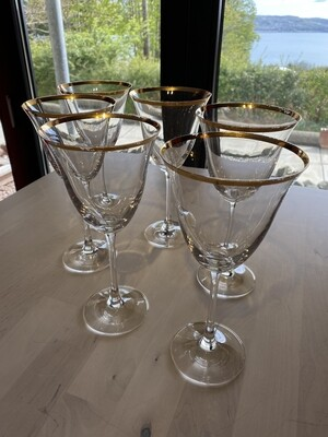Gilt Rimmed Wine Glasses - Set of 6