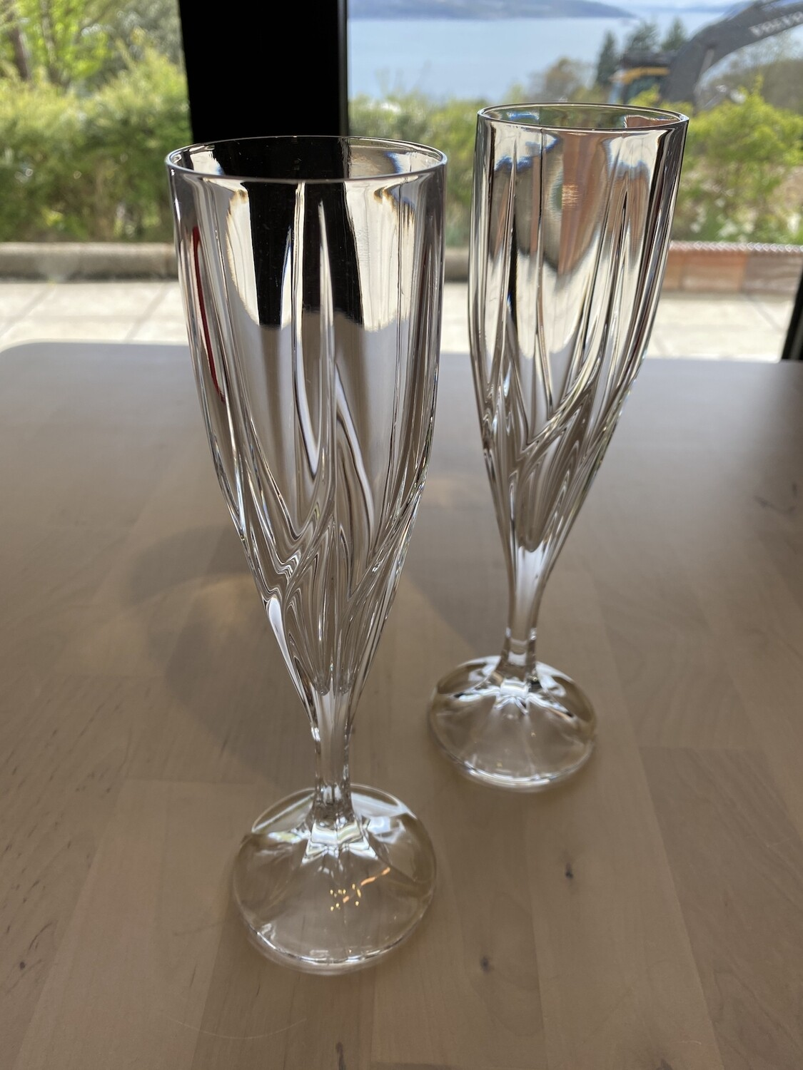 Pair of Heavy Lead Cut Champagne Glasses