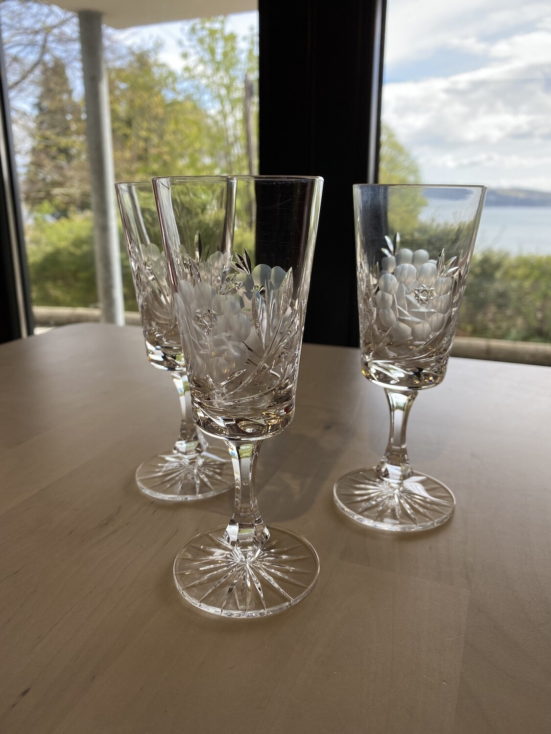 Lovely Set of 3 Cut and Etched Sherry Glasses