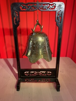 Tibetan or Bhuddist Temple Bell Gong and Wooden Stand - early 1900's