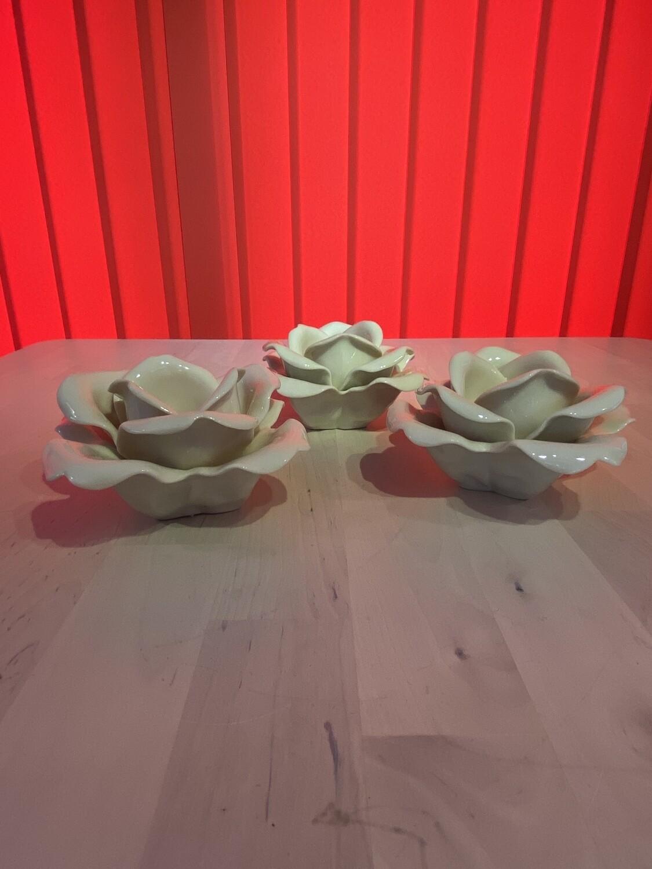 Porcelain Tea Light Holders in a Rose Design