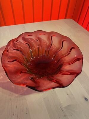 Broad Cranberry Glass Bowl