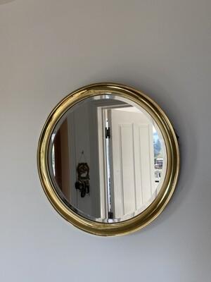 Circular Brass Bound Mirror with Beveled Edge