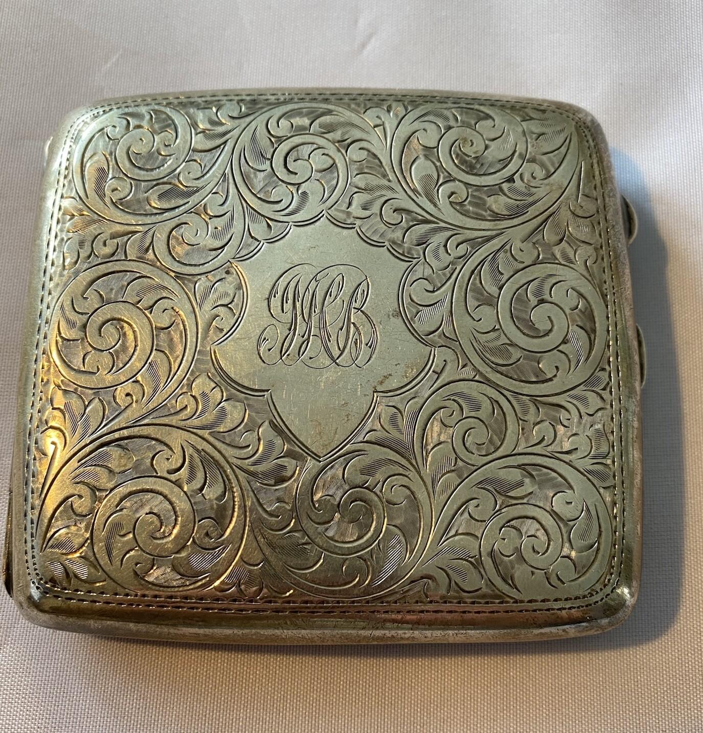 Solid Silver Cigarette Case - 1921 Hallmark