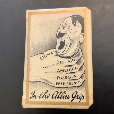 Very Rare Matchbox Cover WW2 - Hitler In The Allies Grip