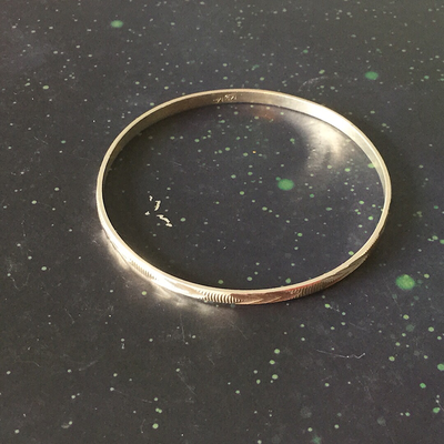 Diamond Cut Silver Bangle (.925)