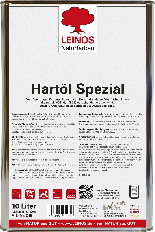 Leinos Hartöl spezial 245  für innen, farblos 10,0 l