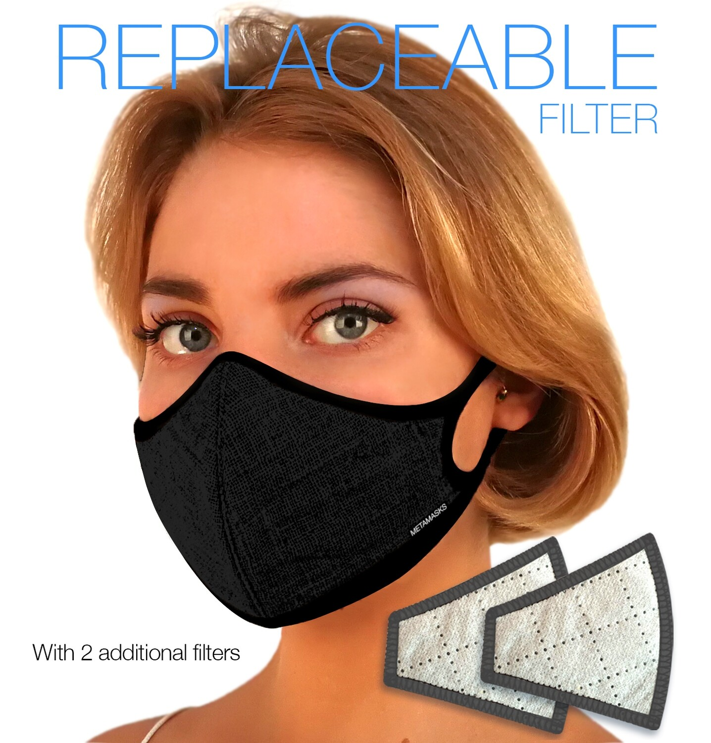 Linen with Plant Dyed Black Face mask Replaceable Filter