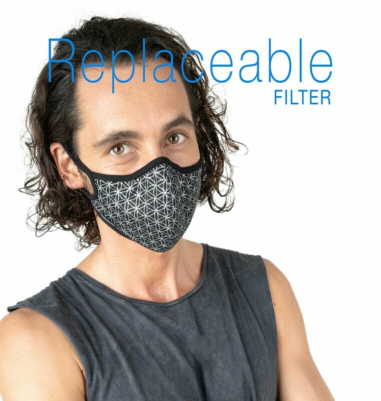 Flower Of Life Black Silver Face Mask Replaceable filter.