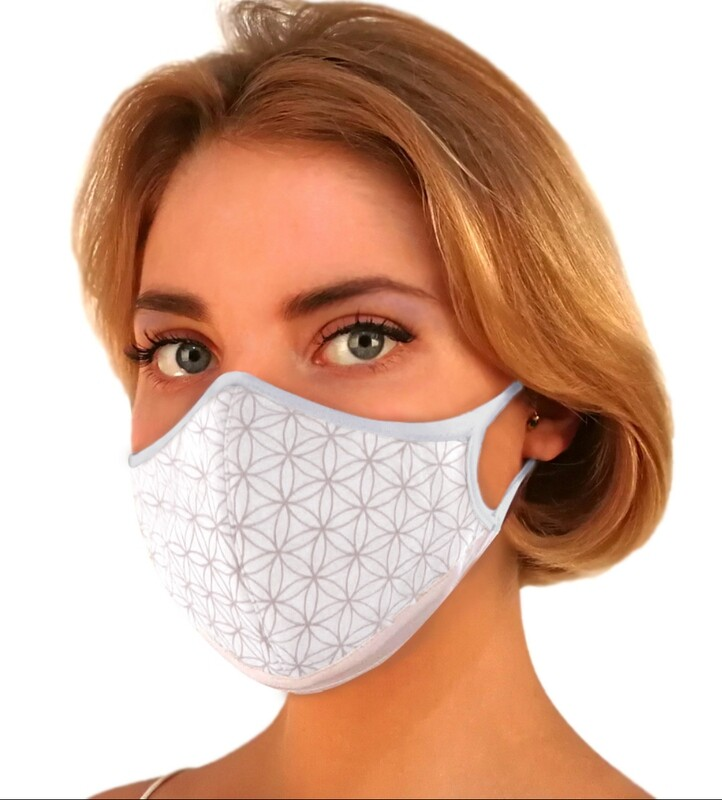 Flower of Life White w/Silver Motif. Face Mask Replaceable Filter.