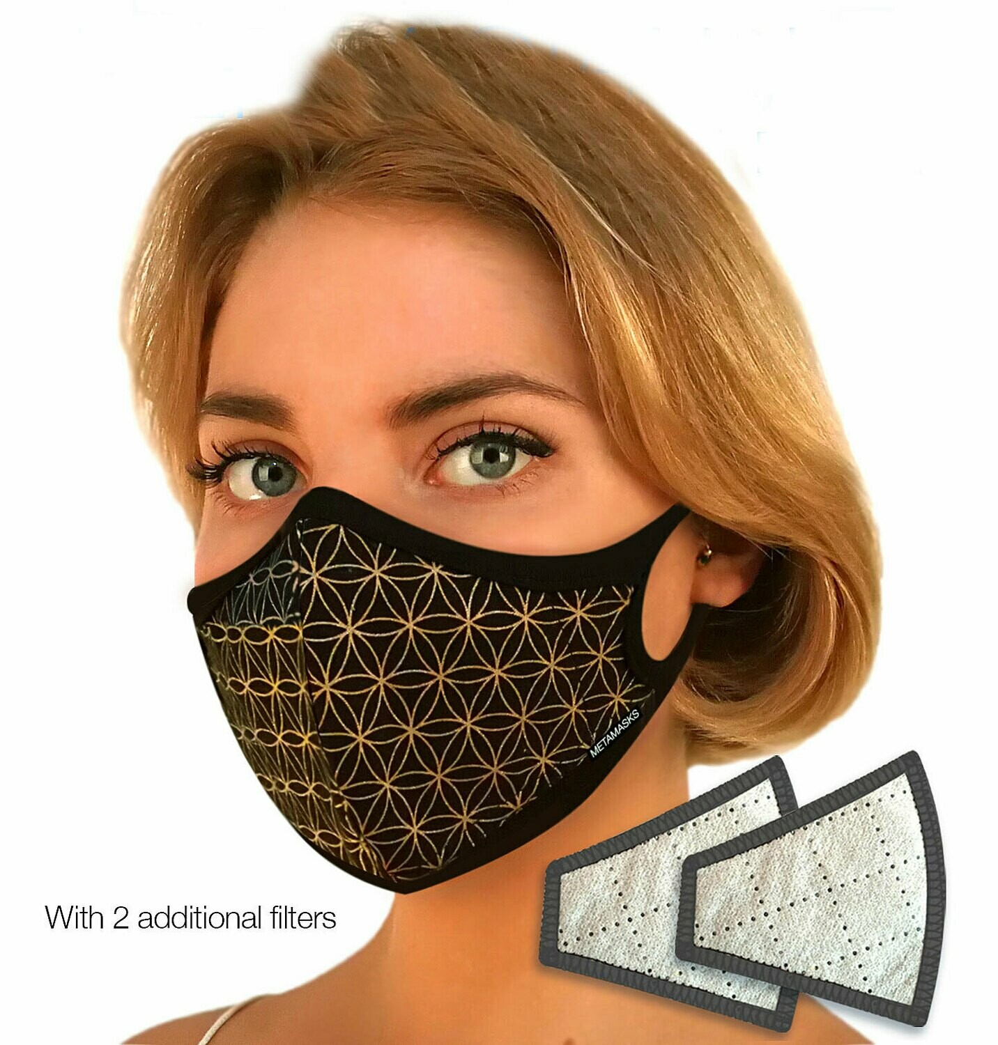 Flower of Life Black Gold Face Mask with Replaceable Filter