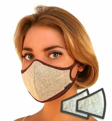 Linen Natural Face Mask Replaceable Filter