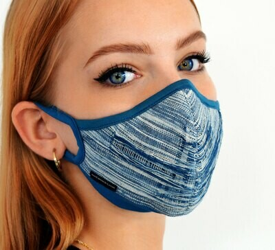 """BelAir"" Face Mask w/ Replaceable Filter. Indigo Blue Natural dye"