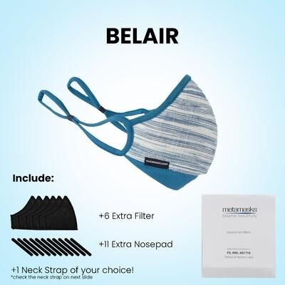 """BelAir""  Full Pkg* Face Mask w/ Replaceable Filter. Indigo Blue Natural dye"