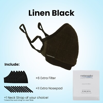 Linen Plant Dye Black  Full Package Face Mask w/ Replaceable Filter