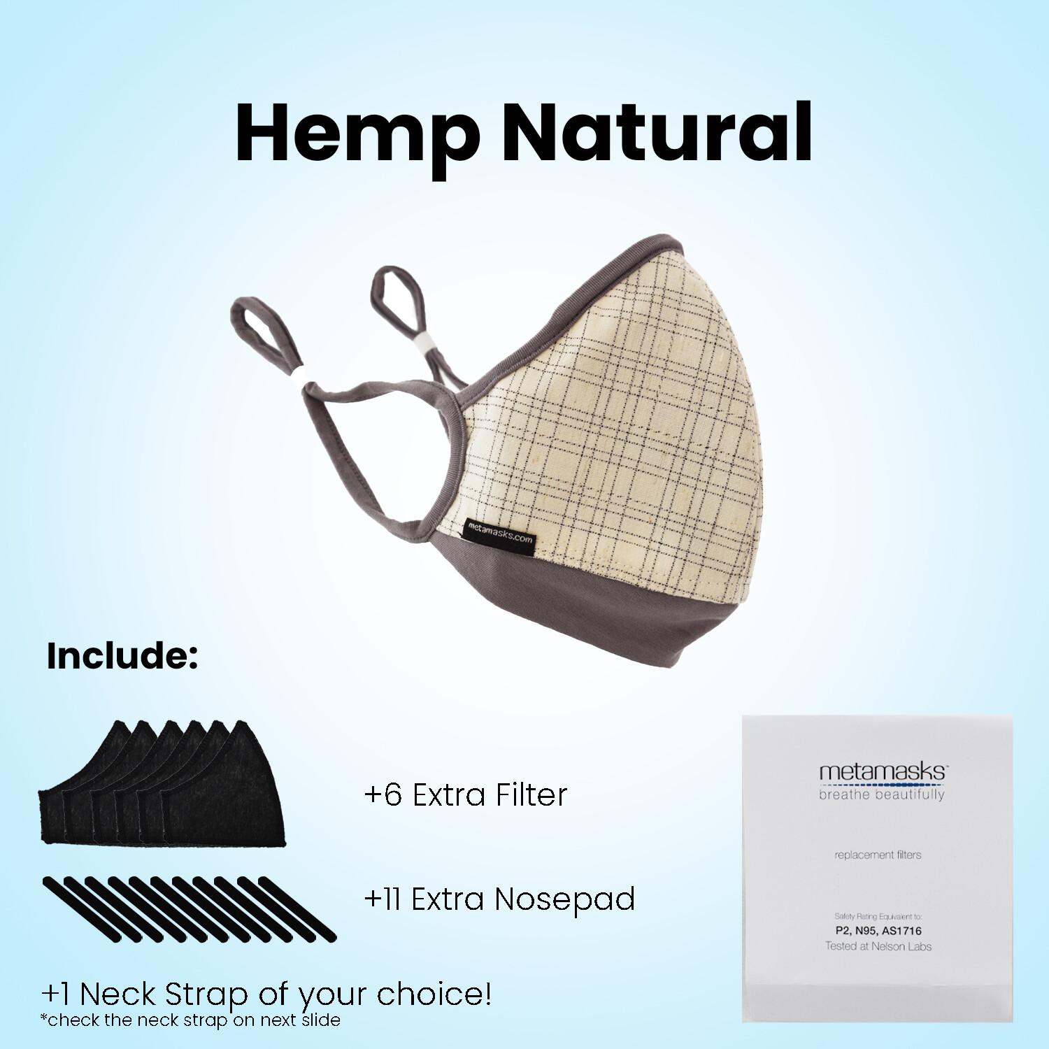 Organic Hemp Full Package Face Mask Replaceable Filter