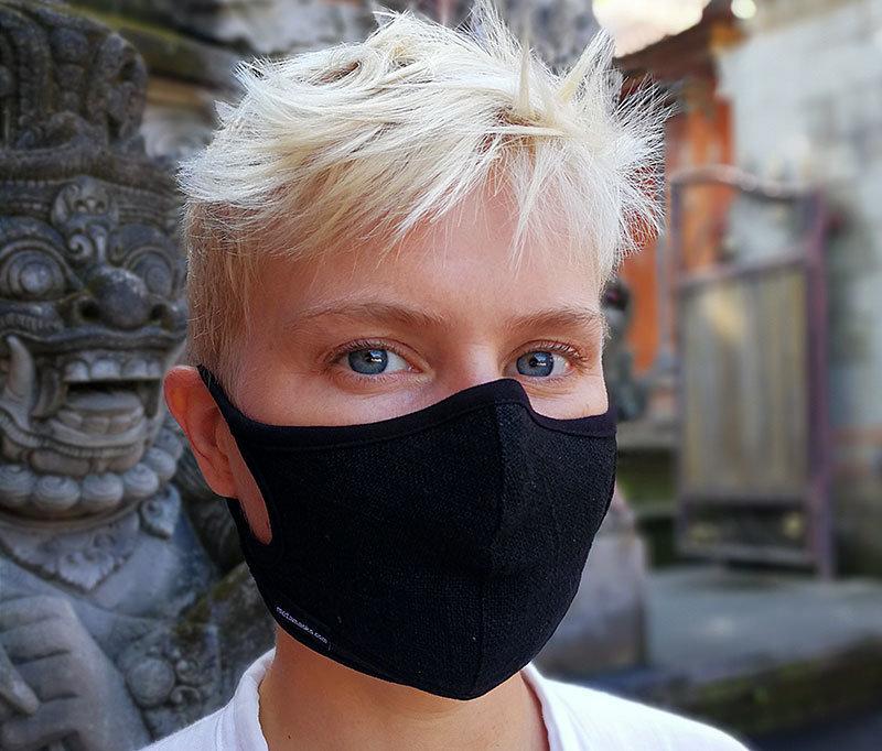 Linen Plant Dye Black Face mask Non-Replaceable filter