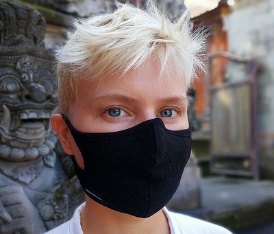 Linen Plant Dye Black Face mask Non-Replaceable filter