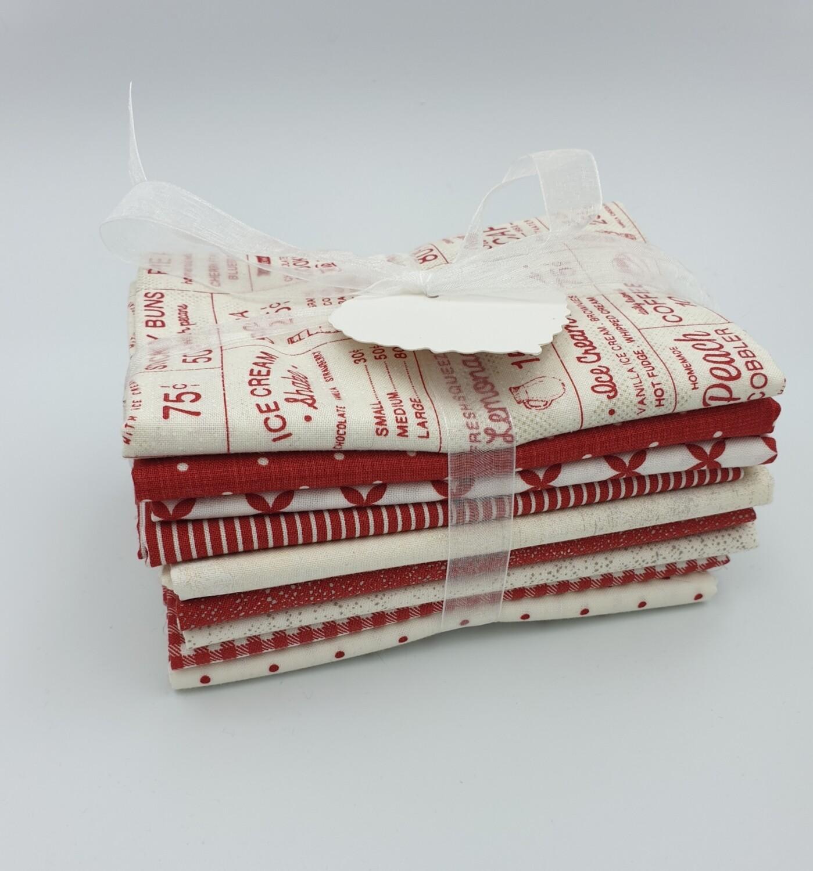 Rød Sweet Tea  stoffpakke 9 stk 50x55 cm