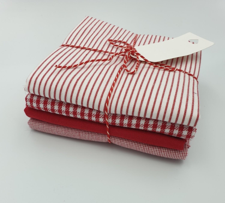 Rød lekker stoffpakke 4 stk 50 cm