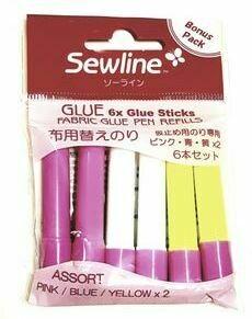 Refill lim, 6 st. til limpenn - 2 stk av hver gul, blå, rosa